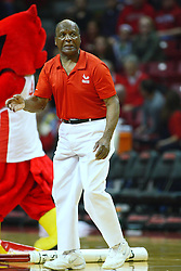 04 February 2012:  Illinois Secretary of State Jesse White leads his troupe, the Jesse White Tumblers, at halftime during an NCAA Missouri Valley Conference mens basketball game where the Bradley Braves lost to the Illinois State Redbirds 78 - 48 in Redbird Arena, Normal IL