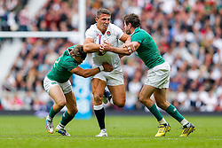 England replacement Sam Burgess is tackled by Ireland replacement Ian Madigan and Outside Centre Jared Payne - Mandatory byline: Rogan Thomson/JMP - 07966 386802 - 05/09/2015 - RUGBY UNION - Twickenham Stadium - London, England - England v Ireland - QBE Internationals 2015.