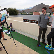Roger Federer is interviewed during the ATP All-Access Hour at the Indian Wells Tennis Garden in Indian Wells, California Tuesday, March 11, 2015.<br /> (Photo by Billie Weiss/BNP Paribas Open)