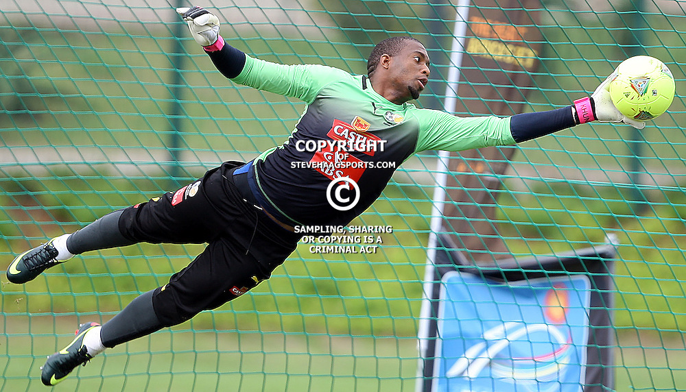 DURBAN, SOUTH AFRICA - JANUARY 29, Itumeleng Khune G/K of South Africa during the South African National soccer team training and player interviews at Peoples Park   Moses Mabhida Stadium on January 30, 2013 in Durban, South Africa<br /> Photo by Steve Haag