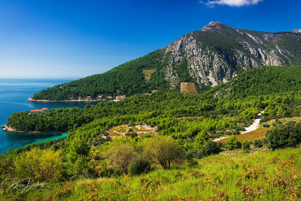 The village of Trstenik on the Peljesac Peninsula above the Adriatic Sea, Dalmatia, Croatia