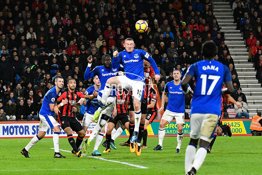 Wayne Rooney (10) of Everton heads the ball clear from the Everton box during the Premier League match between Bournemouth and Everton at the Vitality Stadium, Bournemouth, England on 30 December 2017. Photo by Graham Hunt.