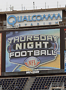 The Thursday Night Football sign flashes on the Qualcomm Stadium scoreboard during the NFL week 10 football game against the Oakland Raiders on Thursday, November 10, 2011 in San Diego, California. The Raiders won the game 24-17. ©Paul Anthony Spinelli