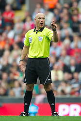 LIVERPOOL, ENGLAND - Saturday, April 23, 2011: Referee Howard Webb  during the Premiership match between Liverpool and Birmingham City at Anfield. (Photo by David Rawcliffe/Propaganda)