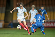 Jill Scott (England) (Manchester City) controls the ball with Daniela Stracchi (Italy) (Mozzanica) watching on during the Women's International Friendly match between England Ladies and Italy Women at Vale Park, Burslem, England on 7 April 2017. Photo by Mark P Doherty.