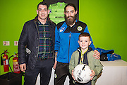 Forest Green Rovers Rob Sinclair(19) with the match ball sponsor during the Vanarama National League match between Forest Green Rovers and Braintree Town at the New Lawn, Forest Green, United Kingdom on 21 January 2017. Photo by Shane Healey.