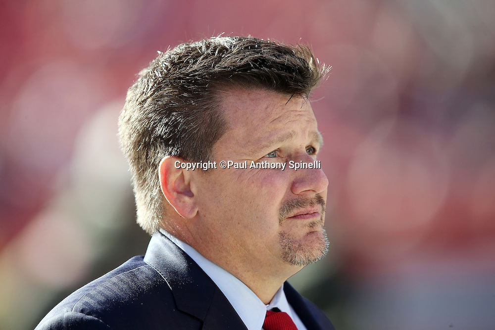 Arizona Cardinals team president Michael Bidwill looks on from the sideline before the 2015 week 8 regular season NFL football game against the Cleveland Browns on Sunday, Nov. 1, 2015 in Cleveland. The Cardinals won the game 34-20. (©Paul Anthony Spinelli)