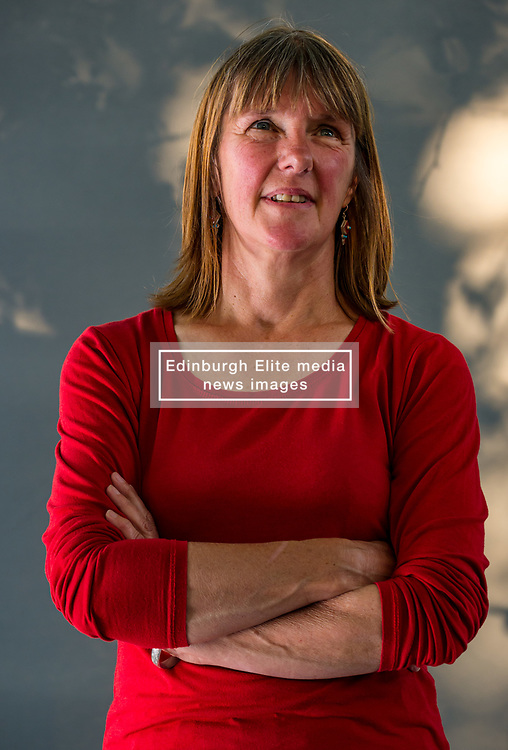 Pictured: Edinburgh International Book Festival, Edinburgh, Scotland, United Kingdom, 24 August 2019. Pictured: Kathleen Jamie, Scottish poet and essayist, and Professor of Creative Writing at the University of Stirling, talks about her new essay collection called 'Surfacing' at the book festival today.<br /> Sally Anderson / EdinburghElitemedia.co.uk