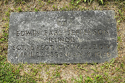 31 August 2017:   Veterans graves in Park Hill Cemetery in eastern McLean County.<br /> <br /> Edwin Earl Jefferson  Illinois  Sergeant 6 REGT USMC 2 DIV  April 22 1895  Jan 8 1946