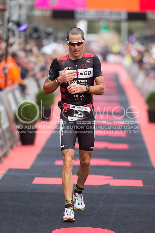 Craig Alexander (AUS), March 23, 2014 - Ironman Triathlon : Ironman Melbourne Race, Run Course Run Course Race Finish, St Kilda, Melbourne, Victoria, Australia. Credit: Lucas Wroe