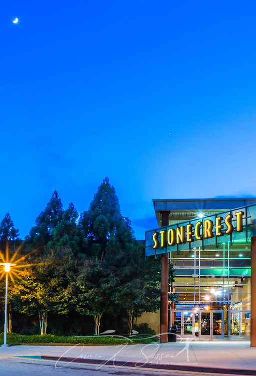 The moon rises over the east entrance of the Mall at Stonecrest, June 2, 2014, in Lithonia, Georgia. The two-story mall opened in October 2001 and is managed by Forest City Enterprises of Cleveland, Ohio. (Photo by Carmen K. Sisson/Cloudybright)