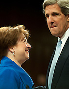 June 28, 2010 - Washington, District of Columbia, U.S., -  Solicitor General Elena Kagan shares a moment with Senator John Kerry before he introduces her to the Senate Judiciary Committee during her  hearings on her nomination to be an associate justice of the Supreme Court.(Credit Image: © Pete Marovich/ZUMA Press)