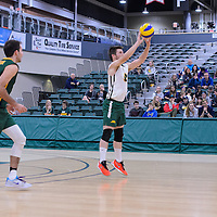 4th year libero Dylan Smith (8) of the Regina Cougars  in action during the Men's Volleyball Home Game vs Trinity Western  on October 28 at the CKHS University of Regina. Credit Matt Johnson/Arthur Images