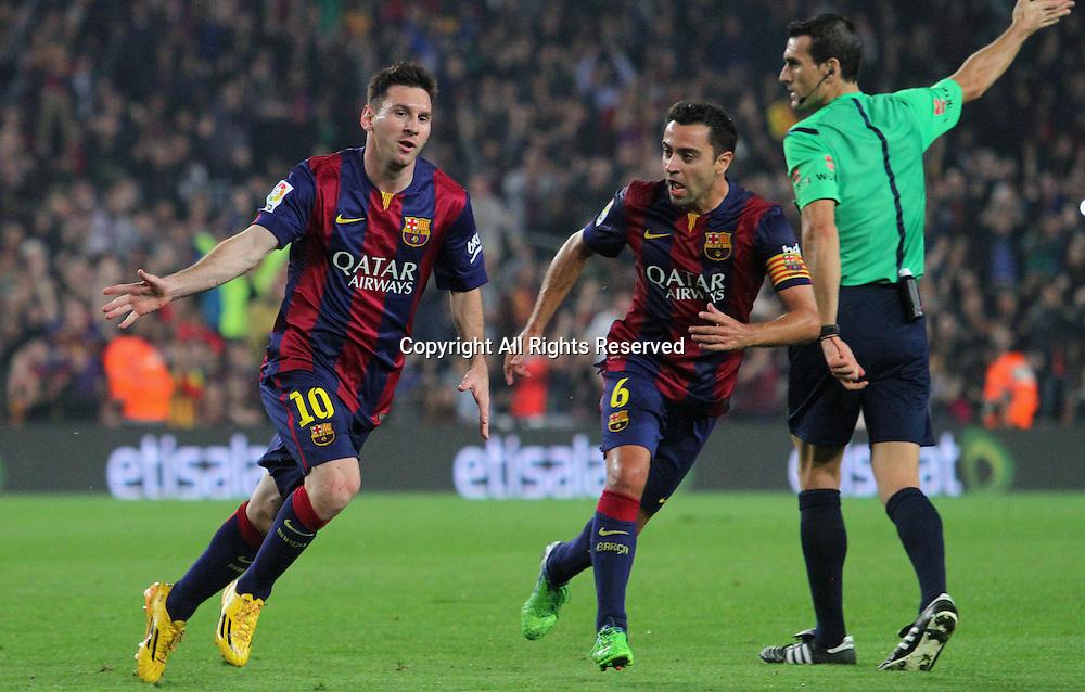 22.11.2014. Barcelona. Spain, La Liga football. Barcelona versus Sevilla. Barcelona versus Sevilla.   Lionel Messi scores to become the leading scorer in  la Liga and beat Zarra's goals record