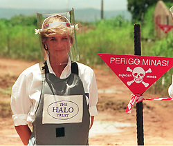 Diana Princess of Wales promoting her campaign against the use of landmines in Angola in January 1997.<br /> Anwar Hussein/EMPICS Entertainment