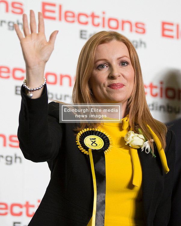 Scottish Parliament Election 2016 Royal Highland Centre Ingliston Edinburgh 05 May 2016; Ash Denham was to her SNP supporters during the Scottish Parliament Election 2016, Royal Highland Centre, Ingliston Edinburgh.<br /> <br /> (c) Chris McCluskie | Edinburgh Elite media