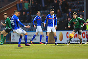 GOAL Joe Thompson (15) scores the opening goal for Rochdale 1-0 during the EFL Sky Bet League 1 match between Rochdale and Scunthorpe United at Spotland, Rochdale, England on 10 December 2016. Photo by Daniel Youngs.