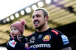 Jack Nowell of Exeter Chiefs with daughter Nori and Luke Cowan-Dickie of Exeter Chiefs walk out together as they celebrate their 100th Appearance for Exeter Chiefs and join the Exeter Chiefs Centurions - Mandatory by-line: Ryan Hiscott/JMP - 29/12/2019 - RUGBY - Sandy Park - Exeter, England - Exeter Chiefs v Saracens - Gallagher Premiership Rugby