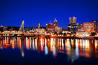Portland Skyline & Willamette River @ Twilight (3)