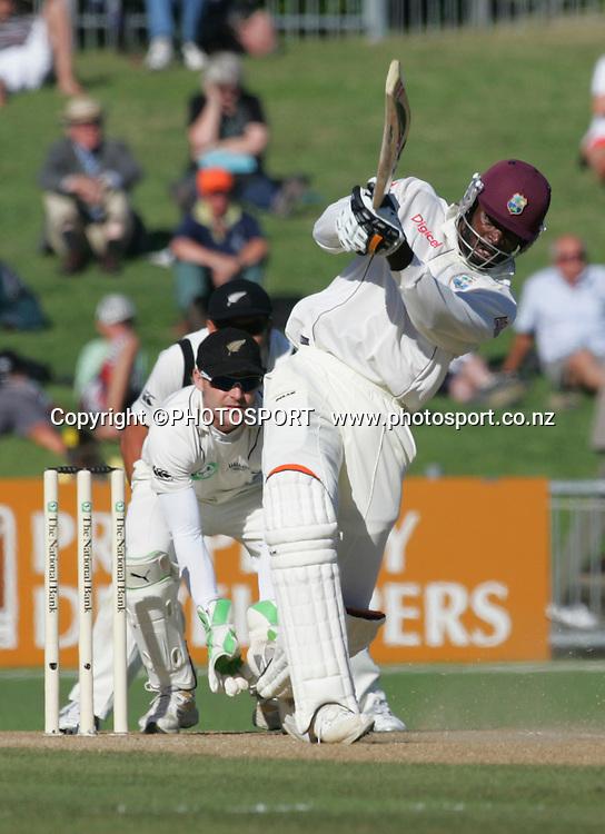 Chris Gayle plays a shot. Second Test Match, National Bank Test Series. New Zealand v West Indies. McLean Park, Napier. 22 December 2008,  Photo: John Cowpland/PHOTOSPORT