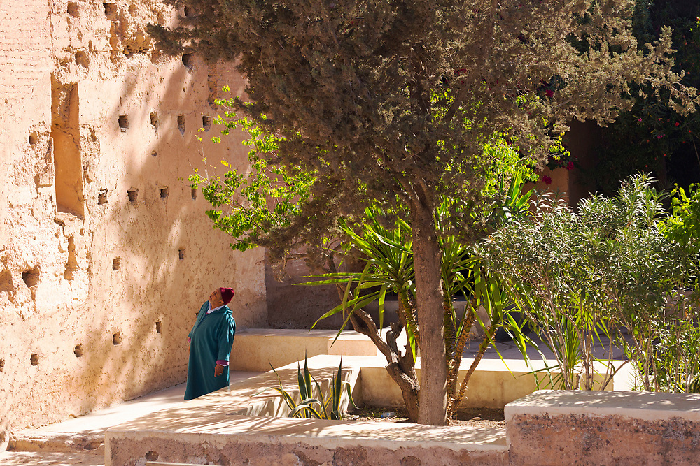 Visitors admire architecture at the El Badi Palace, Marrakesh, Morocco, 2016–04-22. <br />