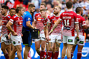 Wigan Warriors full back Sam Tomkins (1) watches as the video referee awards the try to Hull FC right wing Mahe Fonua (2)  during the Ladbrokes Challenge Cup Final 2017 match between Hull RFC and Wigan Warriors at Wembley Stadium, London, England on 26 August 2017. Photo by Simon Davies.