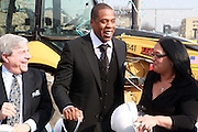 l to r: Brooklyn Borough President Marty Markowitz, Jay-Z, and Delia Hunely-Adossa at the Ground Breaking Ceremony at The Atlantic Yards for the Barclay Center, which will be the future home for the Brooklyn Nets on March 11, 2010 in Brooklyn New York. Photo Credit: Terrence Jennings