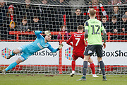 1-0, goal scored by  Jordan Clark of Accrington   during the EFL Sky Bet League 1 match between Accrington Stanley and AFC Wimbledon at the Fraser Eagle Stadium, Accrington, England on 1 February 2020.