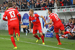 24.09.2014, Voith Arena, Heidenheim, GER, 2. FBL, 1. FC Heidenheim vs 1. FC Nuernberg, 7. Runde, im Bild Robert Leipertz ( 1.FC Heidenheim ) Marc Schnatterer (1.FC Heidenheim) Philip Heise (1.FC Heidenheim) jubeln nach dem 1:0 // during the 2nd German Bundesliga 7th round match between 1. FC Heidenheim and 1. FC Nuernberg at the Voith Arena in Heidenheim, Germany on 2014/09/24. EXPA Pictures © 2014, PhotoCredit: EXPA/ Eibner-Pressefoto/ Langer<br /> <br /> *****ATTENTION - OUT of GER*****