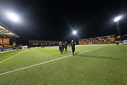 24th November 2017, Dens Park, Dundee, Scotland; Scottish Premier League football, Dundee versus Rangers; Rangers inspect the pitch at a chilly Dens Park ahead of the Friday night SPFL Premiership match between Dundee and Rangers