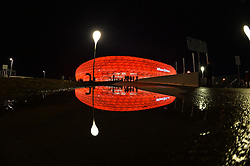THEMENBILD - die Allianz Arena in Muenchen, im Bild die ALLIANZ ARENA am Abend, Spiegelung im Wasser, Bild aufgenommen am 16.04.2013, Allianz Arena, Muenchen, Deutschland. EXPA Pictures © 2013, PhotoCredit: EXPA/ Eibner/ Bert Harzer..***** ATTENTION - OUT OF GER *****