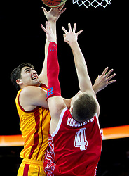 Predrag Samardziski of Macedonia vs Andrey Vorontsevich of Russia during basketball game between National basketball teams of F.Y.R. of Macedonia and Russia of 3rd place game of FIBA Europe Eurobasket Lithuania 2011, on September 18, 2011, in Arena Zalgirio, Kaunas, Lithuania. (Photo by Vid Ponikvar / Sportida)