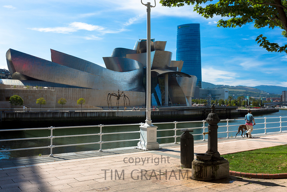 Man walking dog past Architect Frank Gehry's Guggenheim Museum across River Nervion at Bilbao, Basque country, Spain