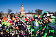 Milano, Piazza Castello before the start of the 2016 Milano Sanremo n. 107° (296km)