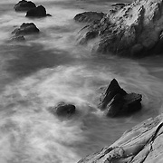 Rock Islands - Sunset - Pescadero State Beach, CA - Black & White