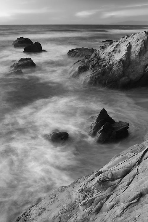 Rock Islands - Sunset - Pescadero State Beach, CA - Black & White