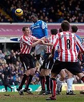 Photo: Glyn Thomas.<br />Birmingham City v Sunderland. The Barclays Premiership. 25/02/2006.<br />Birmingham's Emile Heskey (2nd, L) heads his team into a 1-0 lead.