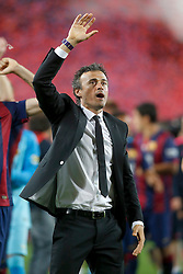 30.05.2015, Camp Nou, Barcelona, ESP, Copa del Rey, Athletic Club Bilbao vs FC Barcelona, Finale, im Bild FC Barcelona's coach Luis Enrique Martinez celebrates the victory // during the final match of spanish king's cup between Athletic Club Bilbao and Barcelona FC at Camp Nou in Barcelona, Spain on 2015/05/30. EXPA Pictures © 2015, PhotoCredit: EXPA/ Alterphotos/ Acero<br /> <br /> *****ATTENTION - OUT of ESP, SUI*****