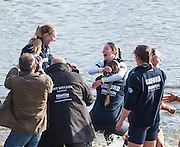 London, Great Britain, Oxford Cox Jennifer EHR, dunked after the presentation,The Newton Women's Boat Race, Men's Race , Championship Course.  River Thames. Putney to Mortlake. ENGLAND. <br /> <br /> 17:28:36  Saturday  11/04/2015<br /> <br /> [Mandatory Credit; Peter Spurrier/Intersport-images]<br /> <br /> OUWBC Crew: <br /> Maxie SCHESKE, Anastasia CHITTY, Shelley PEARSON, Lauren KEDAR, Maddy BADCOTT, Emily REYNOLDS, Nadine GRAEDEL IBERG, Caryn DAVIES and Cox Jennifer EHR