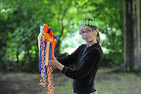 Danille Ashcroft, 13,  with her Olympic Torch made at Breaks Manor,  The Olympic Torch Relay passes through Hatfield, Herts,