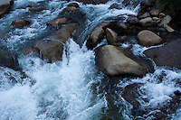 Closeup of white water river rushing over rocks, Yosemite. Landscape and nature photography wall art. Fine art photography prints for sale.