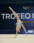 "Sara Rocca during the ""1st Trofeo Citta di Monza"" tournament. On this occasion we have seen the rhythmic gymnastics teams of Belarus and Italy challenge each other. The Bilateral period was only June 9, 2019 at the Candy Arena in Monza, Italy."