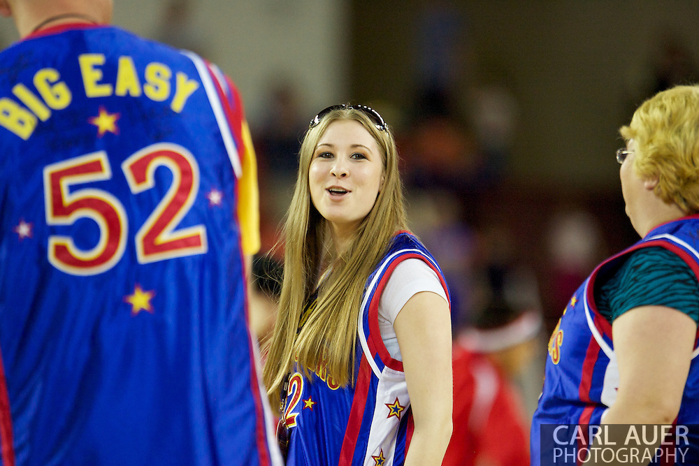 April 30th, 2010 - Anchorage, Alaska:  Honorary Globetrotter Crystal Dye dances to YMCA during a time out Friday night at the Sullivan Arena.