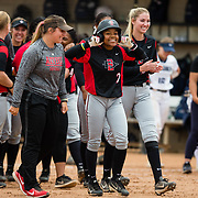 12 May 2018: San Diego State outfielder Zaria Meschack (2) is congratulated by teammates after hitting a walk off single to win the game. San Diego State women's softball closed out the season against Utah State with a 3-2 win on seniors day and sweep the series. <br /> More game action at sdsuaztecphotos.com