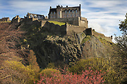 Edinburgh Castle on Castle Rock, seen from Princes St Gardens, in Edinburgh, Scotland. The first royal castle built here was under David I in the 12th century, and the site has been built on, attacked and defended ever since. The castle now houses military museums and the National War Museum of Scotland and is run by Historic Scotland. Picture by Manuel Cohen