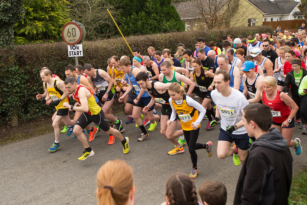 Bohermeen AC 10km & Half Marathon Road Races, 12th March 2016<br /> The start of the Bohermeen AC 10km road race<br /> Photo: David Mullen /www.cyberimages.net / 2016