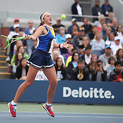 2017 U.S. Open Tennis Tournament - DAY TWO. Jelena Ostapenko of Latvia in action against Lara Arruabarrena of Spain during the Women's Singles round one at the US Open Tennis Tournament at the USTA Billie Jean King National Tennis Center on August 29, 2017 in Flushing, Queens, New York City. (Photo by Tim Clayton/Corbis via Getty Images)