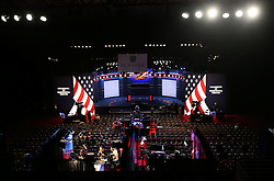 NEW YORK, Sept. 26, 2016 (Xinhua)  -- Photo taken on Sept. 26, 2016 shows the debate hall for the first U.S. presidential debate at Hofstra University in New York, the United States. The first of three presidential debates between the Democratic and Republican nominees, Hillary Clinton and Donald Trump, will be held Monday at Hofstra University in New York. (Xinhua/Qin Lang) (Credit Image: © Qin Lang/Xinhua via ZUMA Wire)