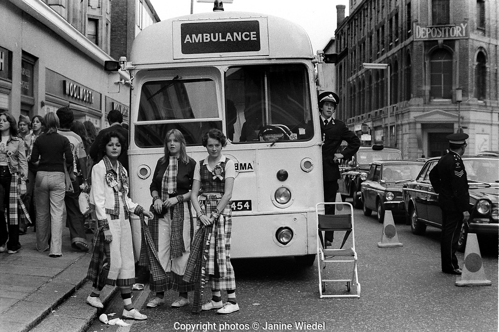 Young people outside London venue where the Bay City Rollers were playing in the 1976