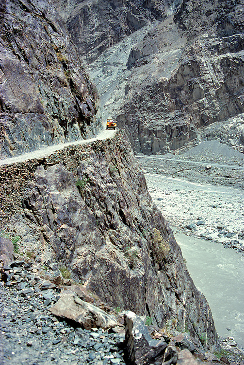 A jeep tackles the narrow road above the Hunza River between Gilgit and Hunza in Khyber Pakhtunkhwa in Pakistan.